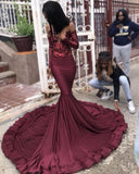 Sexy Burgundy Sequins Mermaid Prom Dresses Cheap Long Sleeves Evening Dresses On Sale  P01060