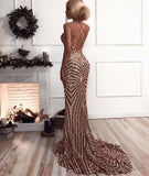 Sexy Sequined Mermaid Spaghetti Strap Prom Dress Backless Prom Dress P01064