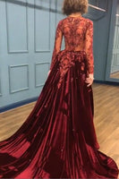 Sparkle Beads Burgundy Velvet Long Sleeves Prom Dresses with Appliques P01071