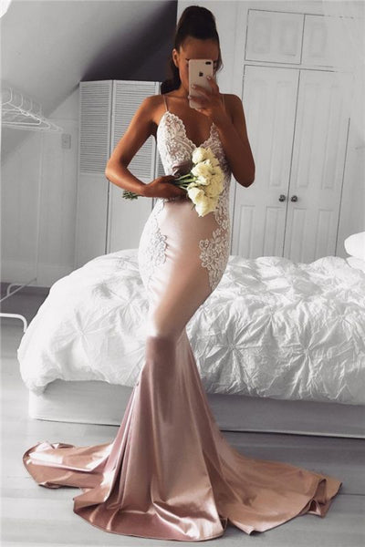 Spaghetti Straps Mermaid Prom Dresses Cheap Lace Sexy Long Formal Dress P01077