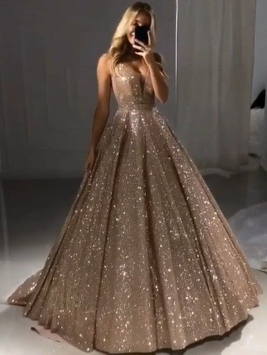 Shiny Gold Ball Gown Evening Dresses Sexy V-Neck Sequin Prom Dresses P01080
