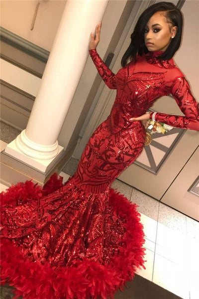 Long Sleeve Mermaid Red Prom Dresses Cheap Sequins Appliques Feather Formal Dress P01084