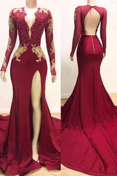 Deep V-neck Long Sleeve Prom Dresses Cheap with Slit | Lace Appliques Sexy Burgundy Evening Gowns P01087