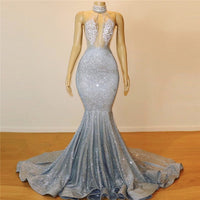 Silver Beads Sequins Mermaid Halter Sleeveless Floor Length Sexy Prom Dresses P01089