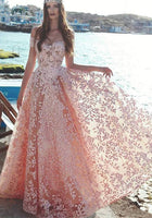 Elegant Off-the-Shoulder Evening Dress Lace Appliques Prom Party Dress On Sale P01091