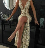 Sexy Slit Hollow-out Lace Cheap Evening Dresses Beaded Pearls Sleeveless Long Formal Dresses P01098