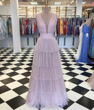 A line v neck tulle long prom dress evening dress P01112