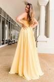 Beauty A Line Sweetheart Yellow Long Prom/Evening Dress with Split Front P01118