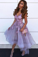 Cute A Line V Neck High Low Purple Homecoming Party Dress P01125