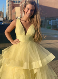Gorgeous A Line V Neck Yellow Long Prom/Evening Dress with Ruffles P01127