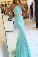 Sexy Mermaid Halter Sleeveless Long Prom Dresses with Sash P01134