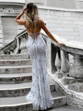 Mermaid V-neck Spaghetti Floor-length Crystal Beads Prom Dresses P01138