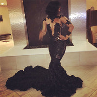 Long-Sleeves Mermaid Black Sexy Appliques Prom Dress | Plus Size Prom Dress P01140