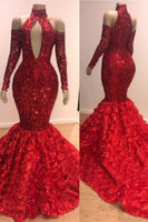 Red Floral Mermaid High Neck Long Sleeve Prom Dresses Cheap Evening Gowns With Flowers Bottom P01145