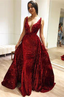 Burgundy A-Line Sleeveless Sequins Glamorous Evening Dresses P01154