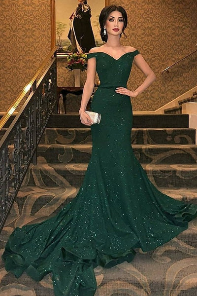 Dark Green Off-The-Shoulder Sequins Mermaid Sleeveless Sweep Train Prom Dresses P01156