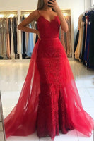 Red Sheath Spaghetti Straps Prom Dresses Sexy Lace OverSkirt Evening Dress P01159