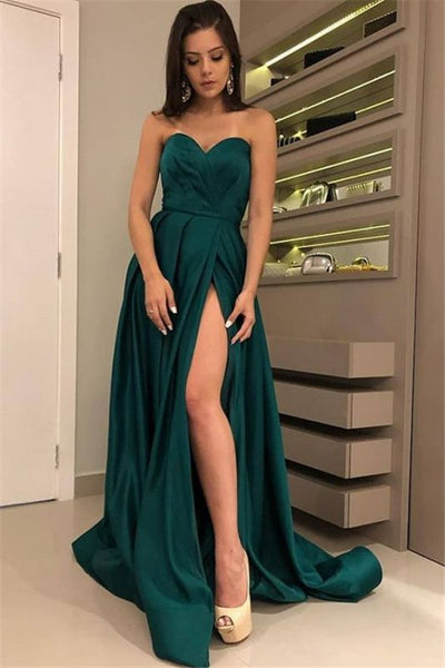 Sexy Strapless Front Split Sleeveless Floor-Length A-Line Prom Dresses P01174