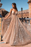 Glamorous Sequins A-Line Long Prom Gowns Spaghetti Straps V-Neck Evening Dress P01176
