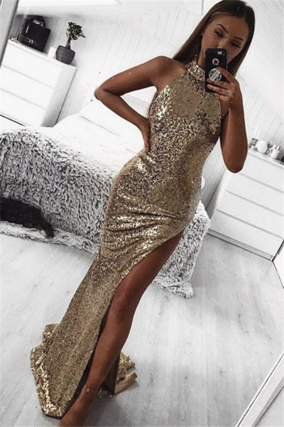 Gold Sheath Halter Sleeveless Side Slit Sequins Sexy Prom Dresses P01178