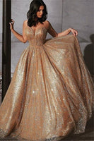 Champagne Elgant A-line Spaghetti Straps Backless Sequins Prom Dresses P01184