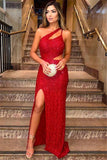 Sexy Red One-Shoulder Sleevesless Side-Slit Sequins Prom Dress P01185