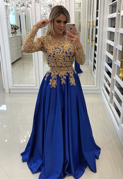Modern Royal Blue & Gold Lace Formal Dress Long Sleeve Party Gowns P01188