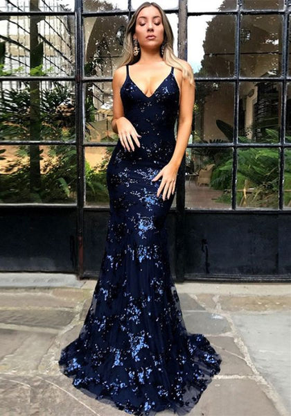 Sexy Spaghetti Strap Lace Sleeveless Formal Gowns | Lace Up Open Back Navy Blue Prom Dresses P01189