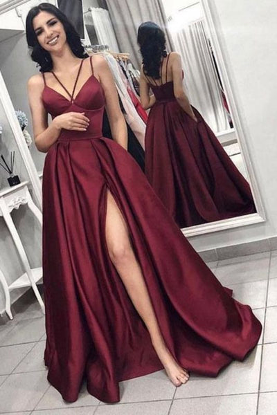 Sexy Sleeveless Front Split Prom Gown | Burgundy Spaghetti-Straps A-Line Evening Dress P01192