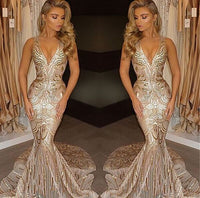 Champagne Gold V-neck Sleeveless Mermaid Sexy Deep Sequins Evening Gown P01196