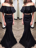 Elegant Black Two Pieces Prom Dresses | Off-the-Shoulder Ruffles Evening Dresses P01213