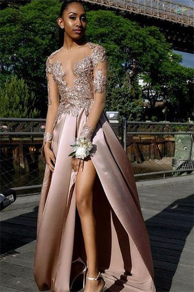 Chic Long-Sleeves Side Slit Backless Applique Long Prom Dress P01223