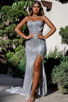 Charming Sweetheart Sleeveless Mermaid Front Split Prom Dress P01227