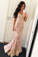 Elegant Pink Spaghetti Straps Lace Prom Dress | Open Back Mermaid Sexy Evening Dresses P01232
