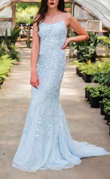 light blue long prom dresses, chic lace prom dresses, mermaid evening party dresses P01243