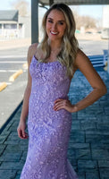 modest lilac long prom dresses, simple lace prom dresses, mermaid evening party gowns P01246
