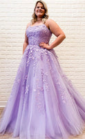 formal ball gown prom dresses, lilac lace prom dresses, modest graduation party gowns P01253