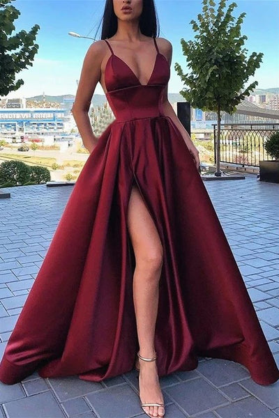 cheap long prom dresses, a line burgundy prom dresses, sexy prom dresses with leg split P01257