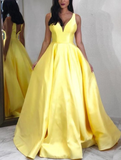 yellow prom dress,yellow ball gown,ball gown prom dresses,yellow evening gown P01266