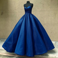 ball gown satin prom dresses navy blue Quinceanera Dresses P01268