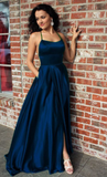 Navy Blue Long Satin Open Back Prom Dresses Leg Slit Evening Gown P01274