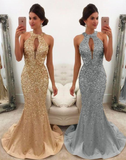 Luxurious Crystal Beaded Satin Halter Mermaid Prom Evening Gown Dresses P01275