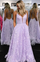Lilac Prom Dresses with Appliques, Criss-Cross Straps Long Prom Dress, Sparkle Prom Dresses P01282