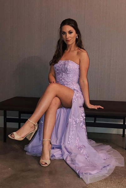 Elegant Lilac Prom Dresses, Side Slit Prom Evening Dress, Formal Dress with Appliques P01288
