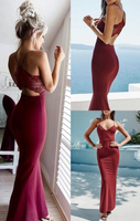 Spaghetti Straps Mermaid Prom Dress, Long Prom Dress with Lace, Burgundy Prom Dresses P01297
