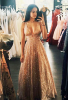 A-Line Deep V-Neck Long Backless Prom Dress with Sequin, Sparkly A-Line Floor Length Gold Long Prom Dress P01299