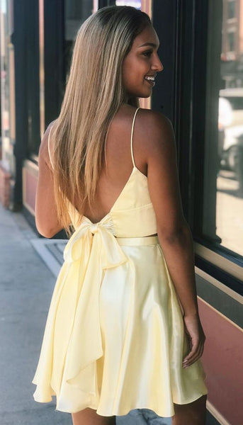 two pieces short homecoming dresses, yellow short prom dresses, sexy cocktail party dresses P01304