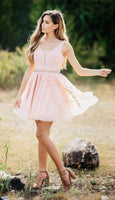 semi formal short prom dresses, pink lace short homecoming dresses, pretty 8th grade dresses for teens P01308