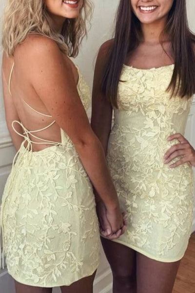 yellow lace short homecoming dresses, sexy cocktail party dresses for teens, fashion hoco dresses P01313