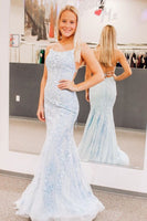 elegant mermaid light blue lace long prom dress formal dress with cross back P01324